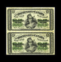 Canadian Currency: , DC-1a 25c 1870 Uncut Vertical Pair.. Pairs for this number are notlisted in Charlton. However, here is proof that at least ...