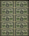 Canadian Currency: , DC-1c 25¢ 1870 Uncut Sheet of Ten.. This sheet is similar in gradeto the previous sheet, but it shows just a little more ha...