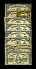 Canadian Currency: , Shinplaster Bonanza.. DC-1c 25¢ 1870 Fine. DC-15b 25¢ 1900. TwoExamples. VG. DC-24a 25¢ 1923 Fine. DC-24c 25¢ 1923. Three E...(Total: 9 notes)