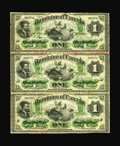 Canadian Currency: , DC-2a $1 1870 Payable at Montreal Partial Uncut Sheet of Three.. This Canadian rarity is mentioned in the Charlton reference...