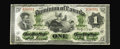 Canadian Currency: , DC-2b $1 1870. The small date variety payable in Toronto, and avery scarce note indeed in this grade. Very Fine.. Fro...