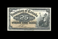Canadian Currency: , DC-15b 25¢ 1900.. Bright paper and light handling are merits ofthis note. About Uncirculated.. From The Halton Lake C...
