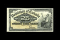 Canadian Currency: , DC-15c 25¢ 1900.. Bright paper, nice color, and two folds are foundon this note. Extremely Fine-About Uncirculated.. ...