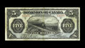 Canadian Currency: , DC-21a $5 1912 Fine-Very Fine. This No Seal Boville note kicks-offa run of several Train notes. This example sports four wi...