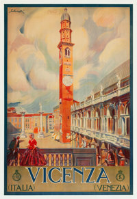 "Vicenza, Italy Travel Poster by Tullio Silvestri (ENIT, Late 1920s-Early 1930s). Poster (26.5"" X 39.25"")"