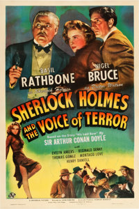 "Sherlock Holmes and the Voice of Terror (Universal, 1942). One Sheet (27"" X 41"")"