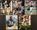 Football Collectibles:Uniforms, Football Greats Signed Index Cards, Photographs, Etc. Lot Of 28....