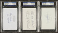 Baseball Collectibles:Others, Dean, Medwick and Frisch Signed Index Cards. ...