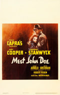 "Movie Posters:Drama, Meet John Doe (Warner Brothers, 1941). Window Card (14"" X 22"").. ..."