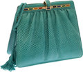 Luxury Accessories:Bags, Judith Leiber Teal Lizard Small Bag. ...