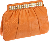 Judith Leiber Peach Lizard Deco Clutch