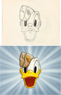 Disney - Donald Duck World War II Cartoon Title Painting and Production Drawing Animation Art Group (Walt Disney, 1942)...