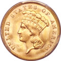 Three Dollar Gold Pieces, 1888 $3 MS66+ PCGS. CAC....