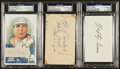 Baseball Collectibles:Others, Walsh, Grove and Bender Signed Cut Index Cards. ...