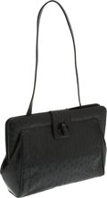 Luxury Accessories:Bags, Loewe Black Ostrich Structured Shoulder Bag. ...