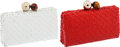Luxury Accessories:Bags, Set of Two; Oscar de la Renta Red and White Woven Paten Clutch. ...(Total: 2 Items)