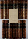 Books:World History, William H. Prescott. ALS Laid In. Works. 15 volumes.Phillips, Samson, 1857-1858. Contemporary half leather. All...(Total: 15 Items)