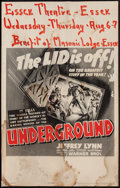 "Movie Posters:War, Underground (Warner Brothers, 1941). Window Card (14"" X 22""). War....."