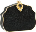 Luxury Accessories:Bags, Judith Leiber Full Bead Black Minaudiere Evening Bag with PearlClosure. ...