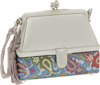 Judith Leiber Gray Satin and Half Bead Evening Bag with Shoulder Strap and Secret Compartment