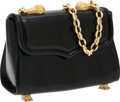 Luxury Accessories:Bags, Kieselstein Cord Black Leather Trophy Shoulder Bag with GoldCrocodile Hardware. ...