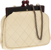 Chanel Beige Lizard Bag with Lucite Frame Closure
