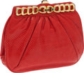 Luxury Accessories:Bags, Judith Leiber Red Lizard Clutch Bag. ...