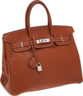 Luxury Accessories:Bags, Hermes Rare 35cm Barenia Leather Birkin Bag with PalladiumHardware. ...