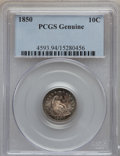 Seated Dimes, 1850 10C -- Altered Surfaces -- PCGS Genuine. This PCGS numberending in 94 suggests Altered Surfaces as the reason, or per...
