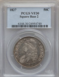 Bust Half Dollars: , 1827 50C Square Base 2 VF30 PCGS. PCGS Population (68/1795). NGCCensus: (36/1921). Mintage: 5,493,400. Numismedia Wsl. Pri...