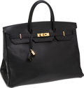 Luxury Accessories:Bags, Hermes 40cm Black Ardennes Leather Birkin Bag with Gold Hardware....