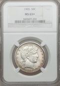 Barber Half Dollars, 1905 50C MS63+ NGC....