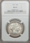 Barber Half Dollars, 1907 50C MS63 NGC....