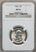 Washington Quarters: , 1938 25C MS65 NGC. NGC Census: (299/277). PCGS Population(479/279). Mintage: 9,480,045. Numismedia Wsl. Price for problem...