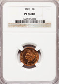 Proof Indian Cents, 1866 1C PR64 Red NGC....