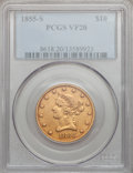Liberty Eagles, 1855-S $10 VF20 PCGS....