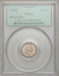 Seated Half Dimes, 1840 H10C Drapery MS64 PCGS....