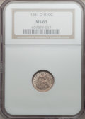 Seated Half Dimes, 1841-O H10C MS63 NGC....