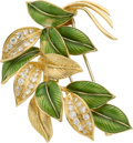 Estate Jewelry:Brooches - Pins, Diamond, Enamel, Gold Brooch, Van Cleef & Arpels, French. ...