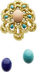 Estate Jewelry:Brooches - Pins, Diamond, Turquoise, Lapis Lazuli, Coral, Gold Brooch. ...