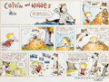 Original Comic Art:Comic Strip Art, Bill Watterson Calvin and Hobbes Hand-Colored Sunday ComicStrip Original Art dated 10-19-1986 (Universal Press Sy...