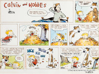 Bill Watterson Calvin and Hobbes Hand-Colored Sunday Comic Strip Original Art dated 10-19-1986 (Universal Press Sy
