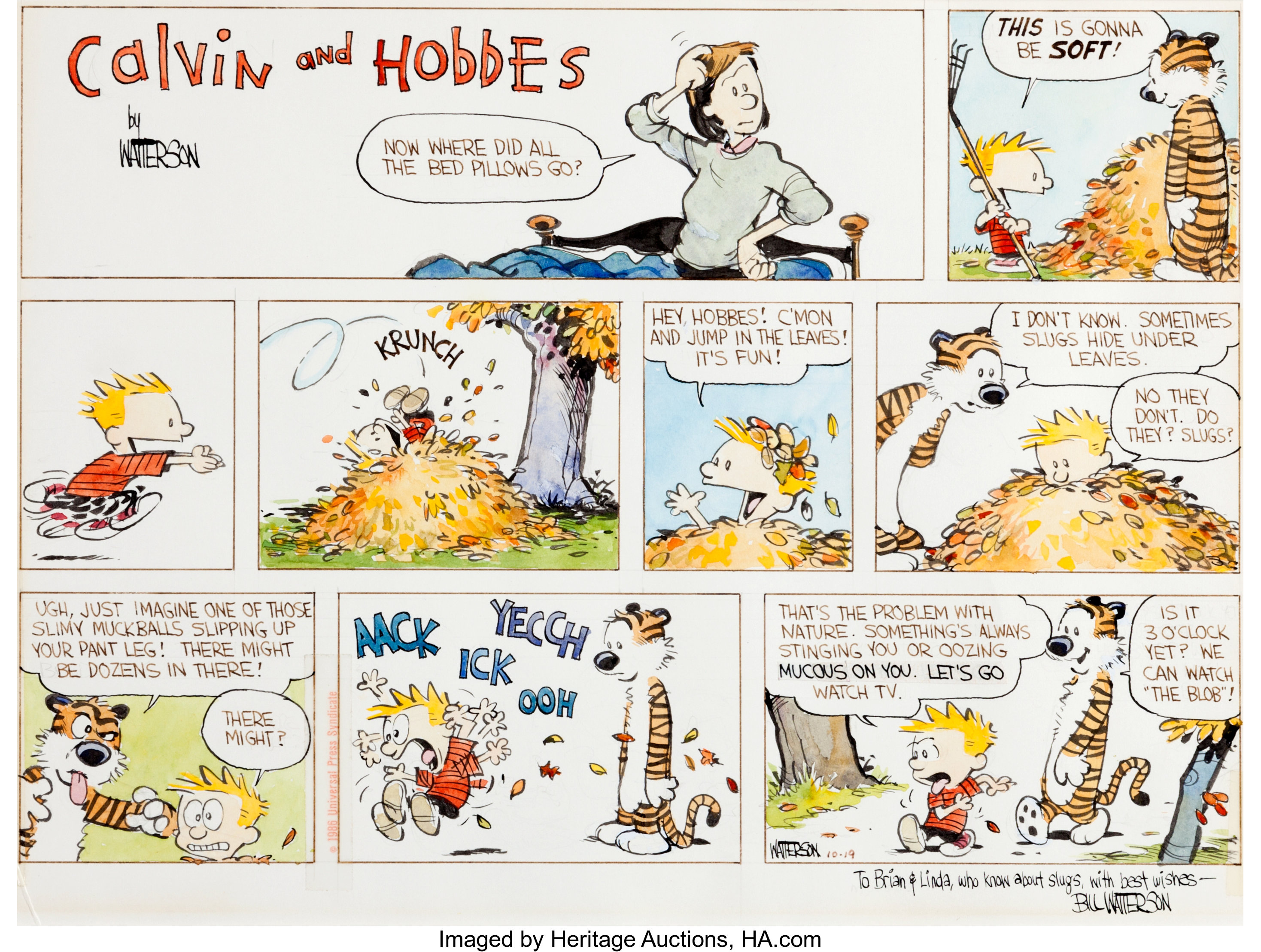 Bill Watterson Calvin and Hobbes Hand-Colored Sunday Comic Strip