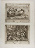 Books:Prints & Leaves, William Hogarth. Group of Two Engraved Prints from the'Prentice Series. Plates 5 & 6. 1747. Mounted togetheron...