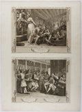 Books:Prints & Leaves, William Hogarth. Group of Two Engraved Prints from the'Prentice Series. Plates 9 & 10. 1747. Mounted togethero...