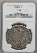 Morgan Dollars: , 1882-CC $1 VF25 NGC. NGC Census: (13/13572). PCGS Population (25/26728). Mintage: 1,133,000. Numismedia Wsl. Price for prob...