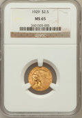 Indian Quarter Eagles: , 1929 $2 1/2 MS65 NGC. NGC Census: (220/2). PCGS Population (117/3).Mintage: 532,000. Numismedia Wsl. Price for problem fre...