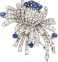 Estate Jewelry:Brooches - Pins, Diamond, Sapphire, Platinum, White Gold Brooch. ...
