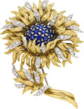 Estate Jewelry:Brooches - Pins, Sapphire, Diamond, Gold Brooch, Tiffany & Co.. ...