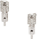 Estate Jewelry:Earrings, Diamond, White Gold Earrings, French. ...